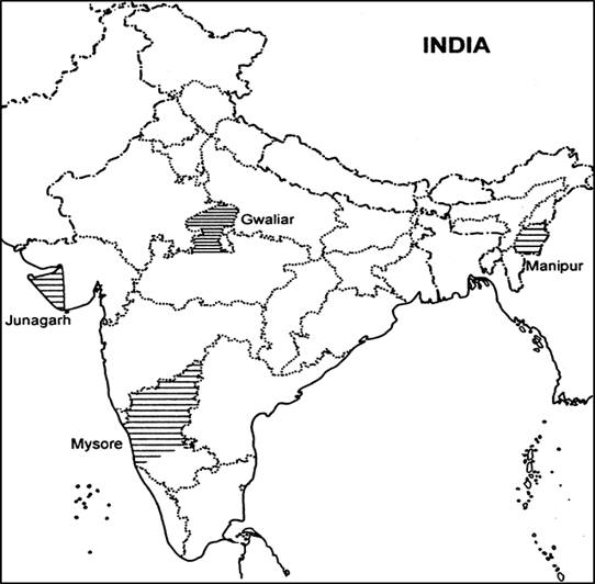 Take A Current Political Map Of India Showing Outlines Of