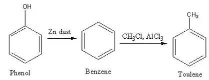 Phenol to toluene