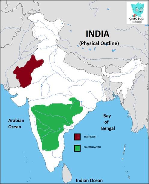 Thar desert and Deccan Plateau. on