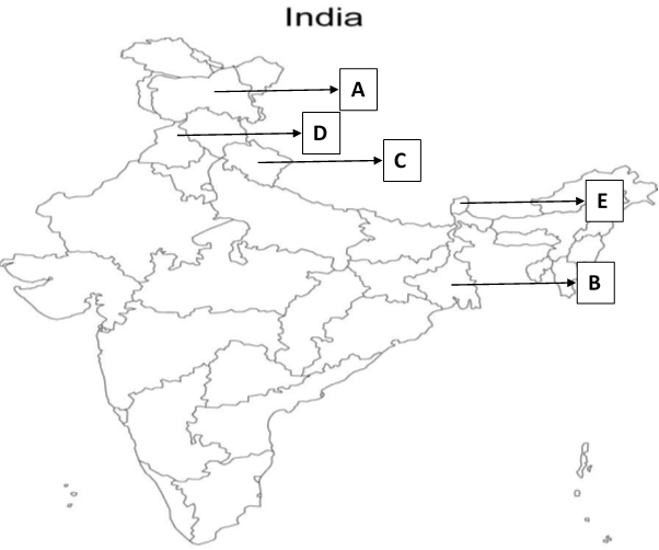 In the given political outline map of India, five states ... Identify States On Map on highlight states on map, 50 states map, identify us states map, identify the 50 states,