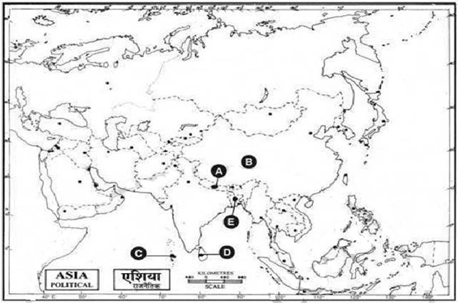 Outline Map Of Asia Political.In The Given Political Outline Map Of South Asia Five Countries