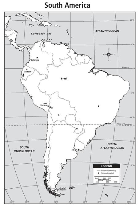 Map Of America Equator.On The Political Map Of The South America Draw The Equator Mark